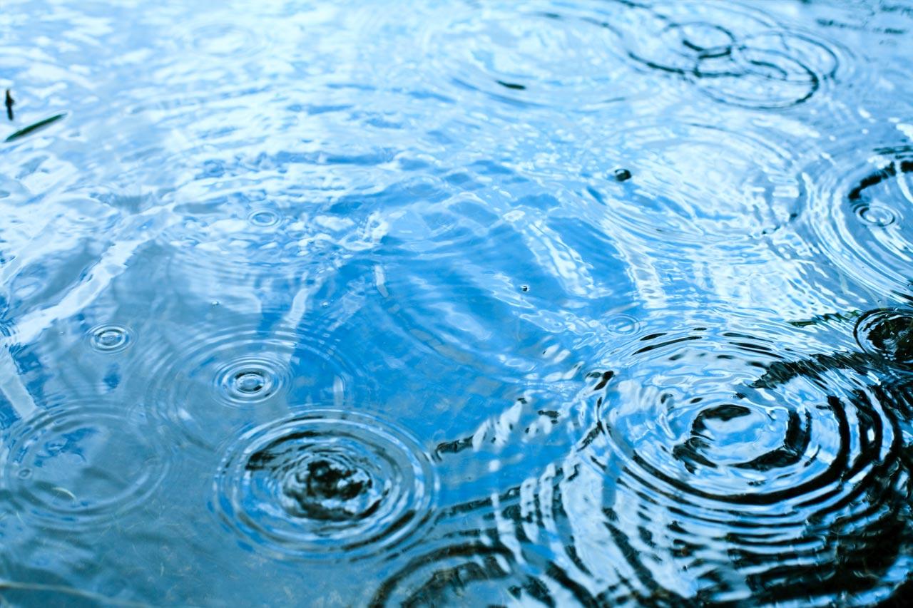 Vesipsaroita sataa veden pinnalle muodostaen rinkuloita veden pintaan.