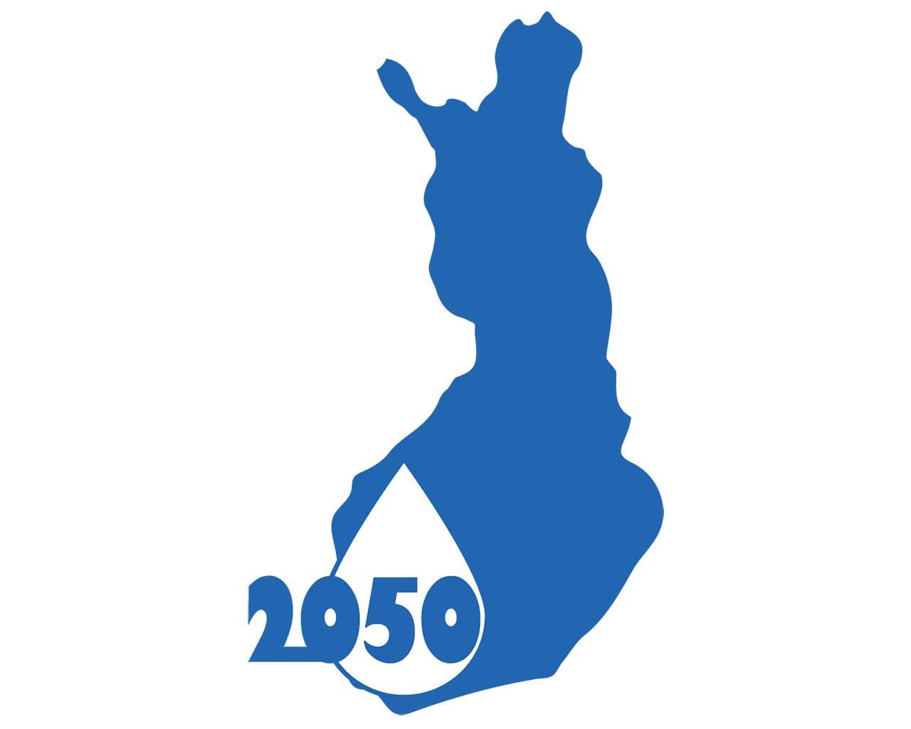 Suomen kartta, pisara ja vuosi 2050