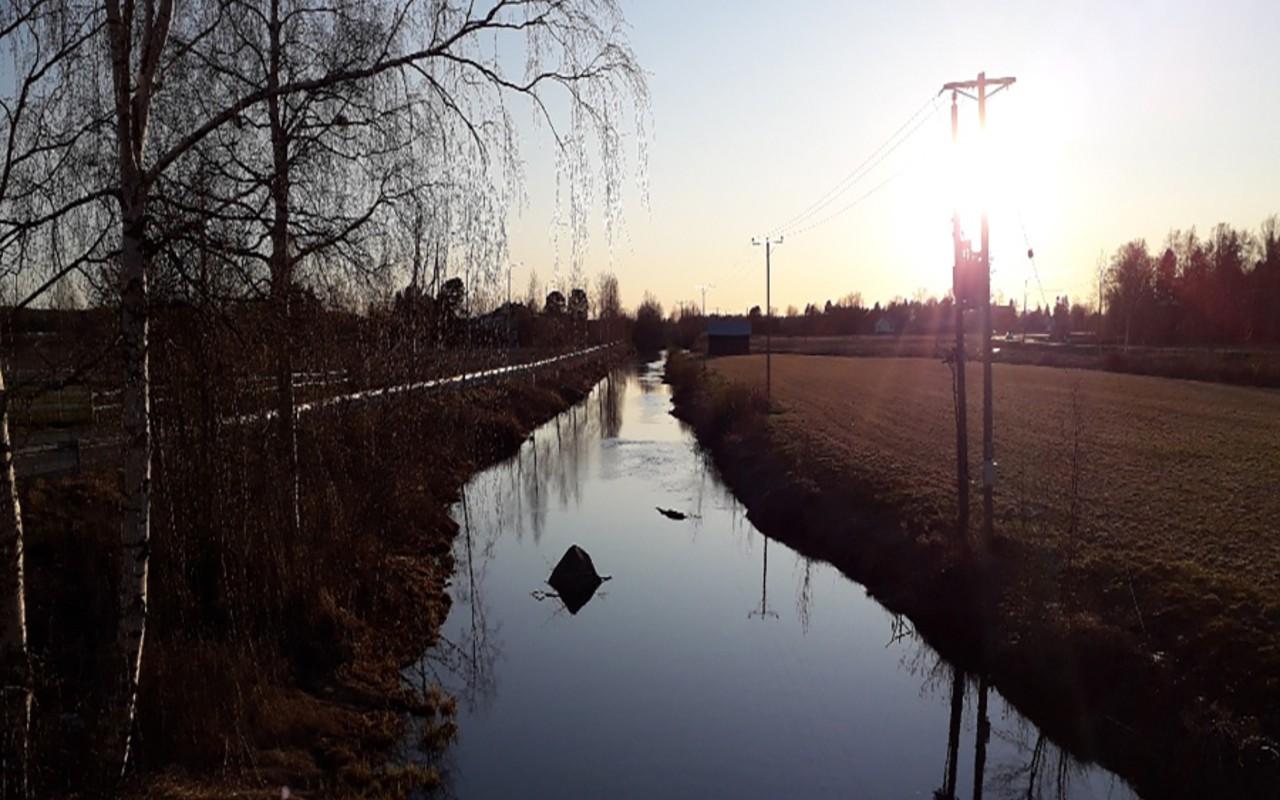 Tuovilanjoki eli Laihianjoen alaosa huhti-toukokuun vaihteessa 2020. Tänä keväänä joki on pysynyt hyvin uomassaan.