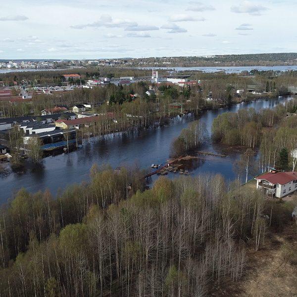 Lapin ELY-keskus, Rovaniemen Saarenpudas tulvii 29.5.2020.